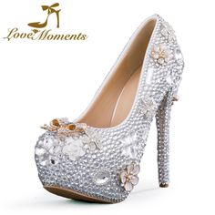 Love Moment Sparkling crystal wedding shoes bride rhinestone high heels  shoes bridal party banquet diamond wedding dress shoes -in Women s Pumps  from Shoes ... 153114e236e0