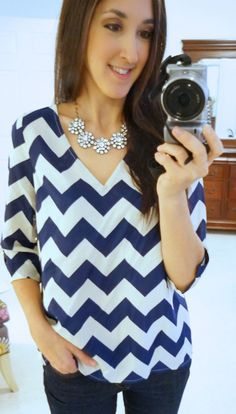 Navy chevron top - love the cut and style... however I would love in another color besides navy/blue, because it is hard to wear navy all the time w black pants