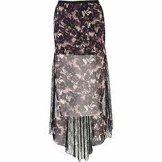 Black print fishtail lace maxi skirt $20.00