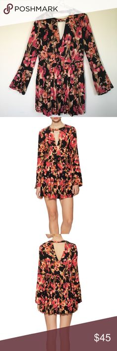 """Free People Tegan Printed Mini Dress Size 2 NWT Beautiful Floral Mini Dress by Free People. It has long sleeves and It is fully lined on the top. It features a pleated skirt and a front/back keyhole with a back button closure. Dress is in new condition with tags. Shell and lining made of 100% rayon.  Shoulder measures 15"""" Bust measures 18"""" Sleeves are 24 1/2"""" Total length is 31 1/2"""". Free People Dresses Mini"""