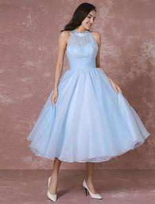 Blue Wedding Dress Short Tulle Vintage Bridal Dress Halter Backless Ball Gown Cocktail Dress Tea-length Party Dress Milanoo
