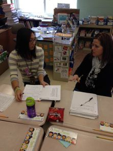 Lauren Gim, a third grade teacher at Claremont Elementary and Cori Jackson, a second grade teacher at Brookside Elementary, work together as...