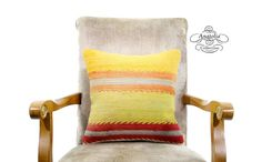 Bohemian Yellow Orange Striped Turkish Kilim by AnatoliaCollection