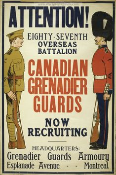 Examples of vintage Canadian World War 1 propaganda posters. Pictures of Canadian art used for liberty war bonds, recruitment of soldiers, weapons, & the Red Cross.