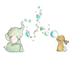 Nursery Art Bubble Party Art Print by trafalgarssquare on Etsy, $10.00