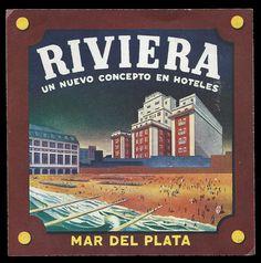 Hotel Riviera Mar Del Plata, Argentina, Vintage Luggage Label | eBay
