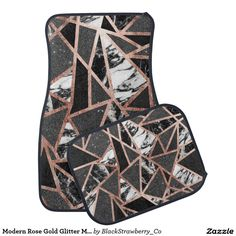Modern Rose Gold Glitter Marble Geometric Triangle Car Mat
