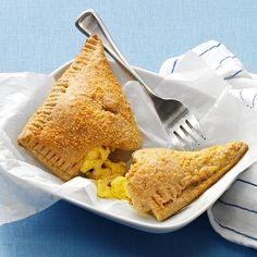 Scrambled Egg Pockets Recipe -We used a simple homemade pizza dough to make these protein- and fiber-packed egg pockets, but a store-bought dough works, too. They make a great handheld breakfast on the go, or an easy weeknight dinner. —Taste of Home Test Kitchen