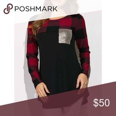 Coming Soon Sequin pocket, plaid top and sleeves top.   Measurements:  Bust: M 33.86, L 35.43, XL 37.01 Length: M 27.76, L 28.15, XL 28.54 Shoulder: M 14.17, L 14.57, XL 14.96 Sleeve Length: M 23.23, L 23.62, XL 24.02  *This is a new item. It is a boutique item, has no brand tag. Tops