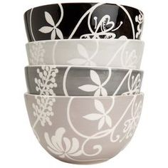 Quality and style are combined to make the Riverdale Cereal Bowl Set. A perfect addition to any kitchen, this dinner plate will add style to any party or tablescape.   Product: 4 Cereal bowls  Construction Material: Earthenware  Color: Shades of gray, white, and black   Features: Perfect for both formal and casual occasions    Dimensions: 6.5 Diameter each   Cleaning and Care: Dishwasher and microwave safe