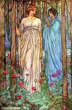 Drawing Woman Illustration for Tennyson's Guinevere by Emma Florence Harrison - Reproduction Oil Painting - Simple Oil Painting, Woman Painting, Art And Illustration, Illustrator, Arte Cyberpunk, Most Famous Paintings, Mystique, Fairytale Art, Pre Raphaelite