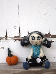 Unique OOAK doll Art doll miniature needle felted by Pupillae