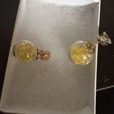 Hot!! Double Sided Rhinestone Filled  Earrings Just In! Mini Pastel Yellow Rhinestones Filled in A Clear Sphere. The Front Of The Earring Is a Large Rhinestone Jewelry Earrings