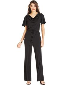 NY Collection Flutter-Sleeve Chain-Trim Jumpsuit