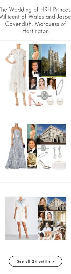 """The Wedding of HRH Princess Millicent of Wales and Jasper Cavendish, Marquess of Hartington"" by princessmillicent ❤ liked on Polyvore featuring Temperley London, Steve Madden, Tiffany & Co., Mark Broumand, Notte by Marchesa, Manolo Blahnik, MICHAEL Michael Kors, Blue Nile, NK iMode and Emilio Pucci"