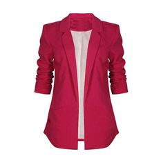 No Button Soft Lining Rose Blazer ($29) ❤ liked on Polyvore