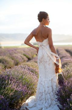 Gorgeous #bride among the #lavender plants | Photo by Amy Lashelle on Glamour and Grace via Lover.ly/Read | attire, bridal, bride, dress, dresses, gowns, lavender, photo, light, lilac, purple, photography