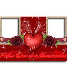 Marco para dos fotos de amor, que felicita el dia de los enamorados, San Valentín. Usa este efecto para crear una tarjeta persnalizada, online y gratis. http://www.fotoefectos.com