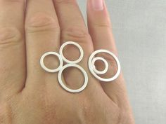 Sterling Silver Circle Ring. Sterling Silver Bubbles Ring. Simple, Minimalist, Geometric, Contemporary. Handmade Jewelry by ZaZing by ZaZing on Etsy