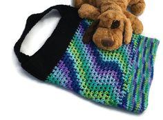 Tote Bag, Market Tote, Crocheted Market Bag, Green, Blue, Purple Bag, Crochet Tote, Vegan Tote, Beach Tote, Summer Tote, Summer Bag, Waves - pinned by pin4etsy.com