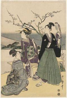 "Japanese Edo Period. 1798. ""Three Lucky New Year Dreams: Fuji, Falcon and Eggplant"""