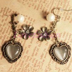 Fashion Women Retro Bronze Heart Opal Pearl Flower Hook Earrings Buddha Joss #newfeeling #DropDangle