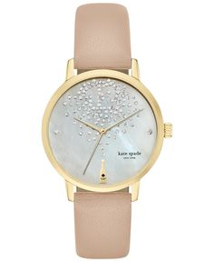 kate spade new york Women's Tan Vachetta Leather Strap Watch 34mm KSW1015 - Kate Spade New York - Jewelry & Watches - Macy's