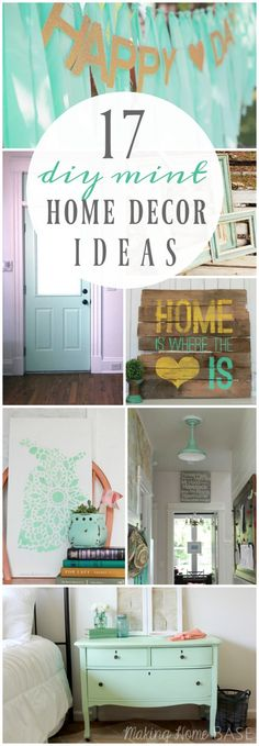 17 DIY mint home decor ideas. Lots of DIY mint decor ideas, such cute colorful home decorations!