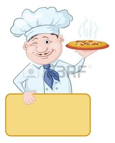 Cartoon cook - chef with delicious hot pizza and poster, free for your text illustration