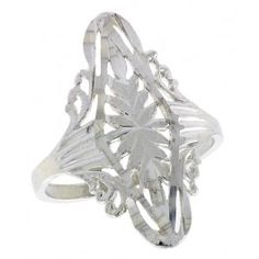 Sterling Silver Diamond-shaped Filigree Ring, 1 inch.