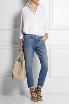 Frame Denim, Aquazzura Lace Up Heels Sandals, Valentino White Shirt, Victoria Beckham Bag