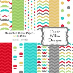Mustache Multi-(12)-12x12 digital paper-300dpi-Mustache-Chevron-Polka Dot-Green-Yellow-Grey-Blue-Tan-White by PaperWillowDesigns on Etsy