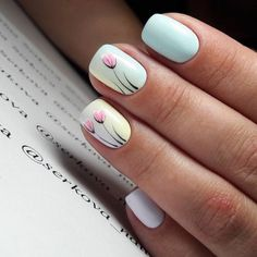 Pastel Nails: 35 Creative Pastel Nail Art Designs - Part 10 Spring Nail Art, Nail Designs Spring, Spring Nails, Summer Nails, Nail Art Designs, Nails Design, Spring Design, Spring Art, Fall Nails