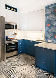 Daydream (Blue) kitchen with some killer tile and fab finishes! [Design by AHA Interiors]