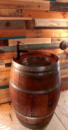 Wine Barrel Copper Sink Vanity Loved the idea!