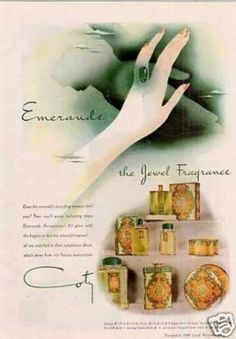 Coty Emeraude Fragrance (1940) wow, this is one of my all-time favorite perfume scents, had no idea it was created so long ago