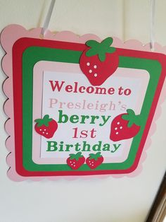 Strawberry sign, strawberry birthday, strawberry door hanger stawberry party, strawberry party decorations, berry sweet party by MindysPaperPiecing on Etsy 1st Birthday Party For Girls, 1st Birthday Party Decorations, First Birthday Party Themes, Baby First Birthday, Birthday Ideas, Birthday Cakes, Strawberry Shortcake Birthday, Strawberry Decorations, First Birthdays