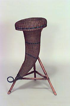 American Victorian natural wicker cornucopia shaped fernery
