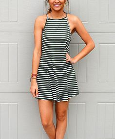 Loving this Olive Stripe Halter Dress on #zulily! #zulilyfinds