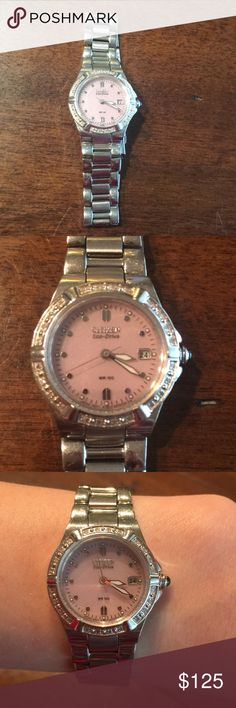 "Ladies Citizen Eco-Drive Watch Beautiful, dainty watch with pretty pink face and pave stones going around it. In great, used condition. Links have never been removed; no longer have box/paperwork, as this is a few years old. Solar powered so no need for batteries. Approx. 7"" length. No trades. ✨✨ Citizen Accessories Watches"