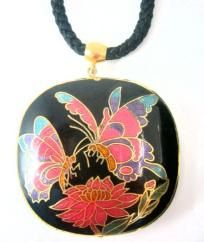 "$22.00 Vintage Double - sided Cloisonne 2"" BUTTERFLY Pendant  Necklace FREE SHIPPING"