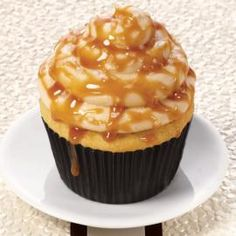 Salted Caramel Cupcake with recipe. Tried it out in my Wilton Giant Cupcake Pan and it worked incredibly well! A great recipe for sure!