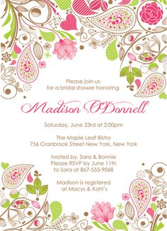 BRIDAL SHOWER Pink & Green Paisley Themed by PaperPartyCo on Etsy, $15.95