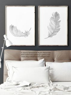 Grey Feather Art Print Black White and Gray Watercolour Painting. 2 Feathers Living Room set Nursery Art Print. Baby Girl Baby Boy Room Decoration. Minimalist Anniversary Gift Idea for Her. A price is for the set of 2 Feather Art Prints as in the first picture. Type of paper: Prints up to (42x29,7cm) 11x16 inch size are printed on Archival Acid Free 270g/m2 White Watercolor Fine Art Paper and retains the look of original painting. Larger prints are printed on 200g/m2 White Semi-Glossy…