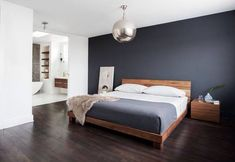 What Absolutely Everyone Is Saying About Dark Grey Accent Wall Bedroom Room Colors - walmartbytes Accent Wall Bedroom, Wood Bedroom, Bedroom Decor, Master Bedroom, Bedroom Ideas, Feature Wall Bedroom, Bedroom Bed, Contemporary Bedroom, Modern Bedroom