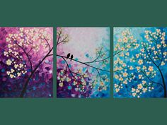 "Original Modern Abstract Heavy Texture Palette Knife Impasto Painting Tree Landscape Wall Decor ""Songs of Birds and Scent of Flowers"""