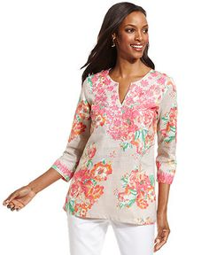 Charter Club Top, Three-Quarter-Sleeve Embroidered Linen Tunic - Tops - Women - Macy's