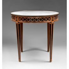 Russian Style Mid 20th C. Bouillotte Center Table, Marble Top, Shop Rubylane.com