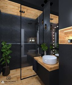 The floating sink and lack of clutter to the room demonstrate Japanese modern in. - The floating sink and lack of clutter to the room demonstrate Japanese modern influence. Bathroom Design Luxury, Modern Bathroom Decor, Modern Bathroom Design, Modern Room, Colorful Bathroom, Bathroom Black, Bathroom Trends, Simple Bathroom, Master Bathroom
