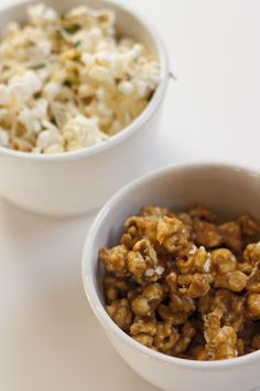 Truffle Parmesan Popcorn + Caramel Popcorn...I can't wait to try this on movie night with my sisters!